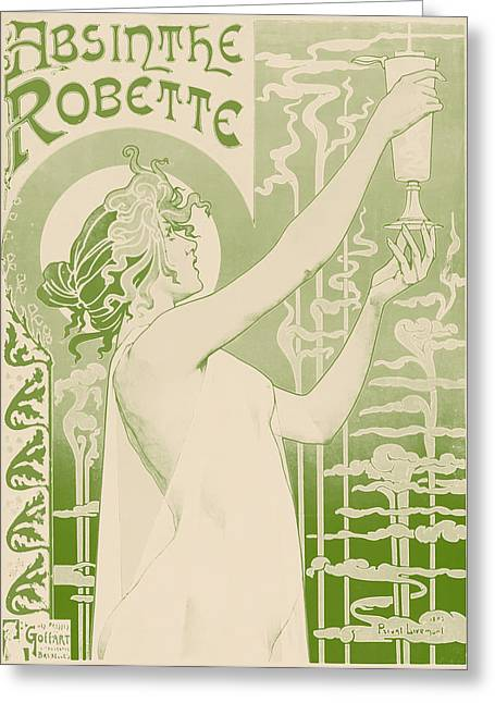 Absinthe Greeting Cards - Antique Absinthe Robette Ad 4 Greeting Card by The  Vault - Jennifer Rondinelli Reilly
