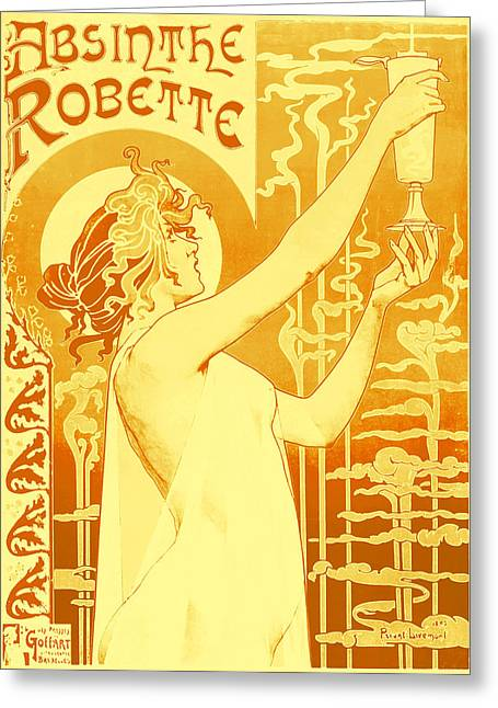 Absinthe Greeting Cards - Antique Absinthe Robette Ad 6 Greeting Card by The  Vault - Jennifer Rondinelli Reilly