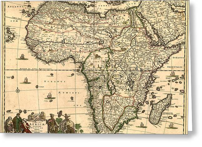 Antique Digital Greeting Cards - Antique Africa Map Greeting Card by Gary Grayson