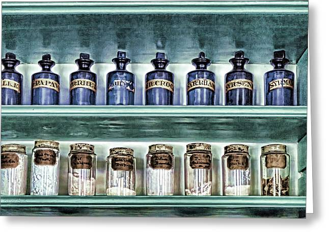 Salve Greeting Cards - Antique Apothecary Bottles Greeting Card by Sharon Popek