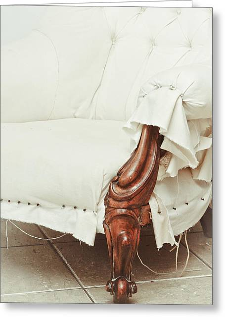 Settee Greeting Cards - Antique armchair Greeting Card by Tom Gowanlock