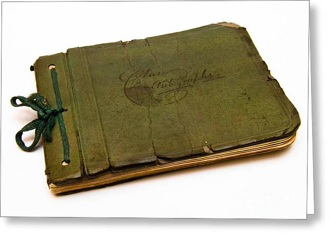 Olive Green Greeting Cards - Antique Autograph Book Greeting Card by Amy Cicconi