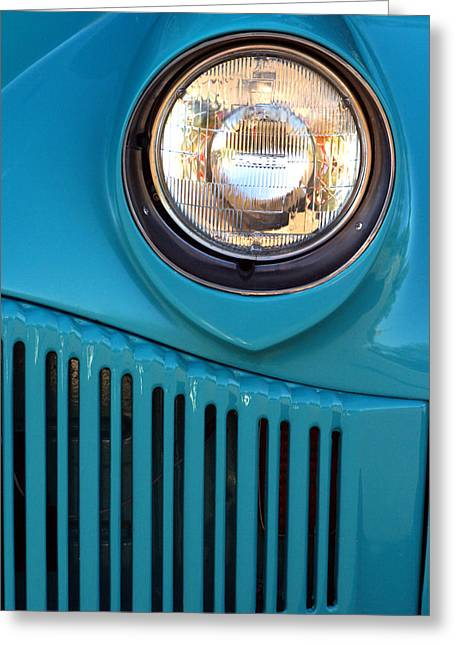 Headlight Greeting Cards - Antique Automobile Headlamp Greeting Card by Carol Leigh