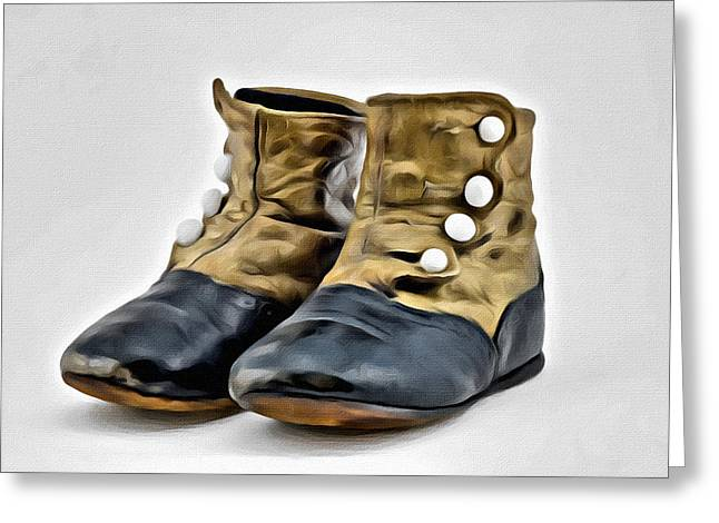 Antique Baby Boots Greeting Card by Patrick M Lynch