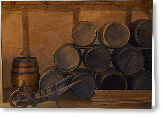Wine Cart Greeting Cards - Antique barrels and carte Greeting Card by Richard Jenkins