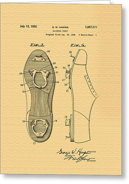 Antique Baseball Cleats Patent - 1932 Greeting Card by Mountain Dreams