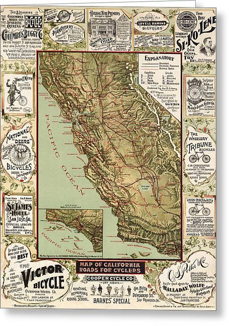 California Map Greeting Cards - Antique Bicycle Map of California by George W. Blum - 1895 Greeting Card by Blue Monocle