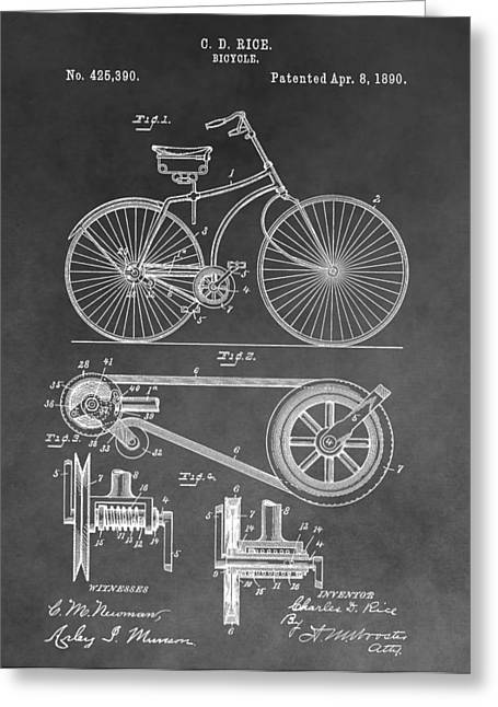 Vintage Bicycle Greeting Cards - Antique Bicycle Patent Black And White Greeting Card by Dan Sproul