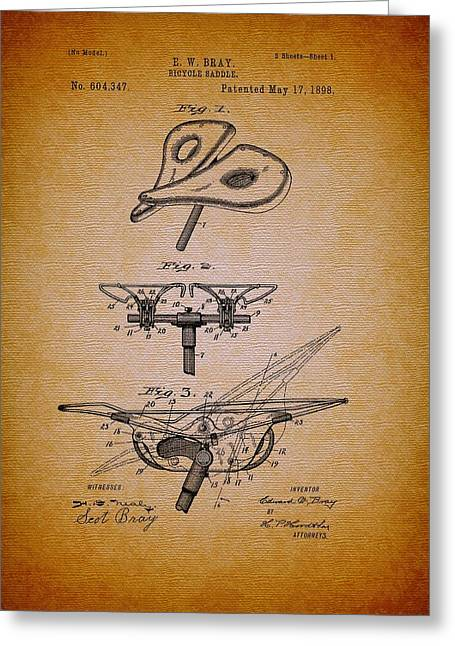 Conferring Greeting Cards - Antique Bicycle Saddle Patent 1898 Greeting Card by Mountain Dreams