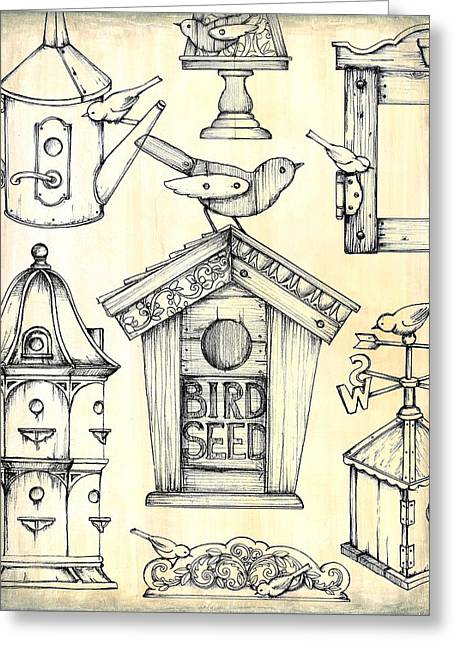 Flower Boxes Drawings Greeting Cards - Antique Bird Boxes 1 Greeting Card by Mark Davies