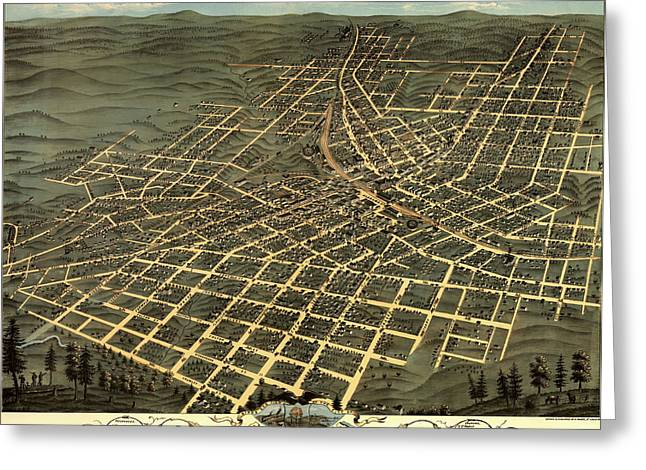 Illustrative Greeting Cards - Antique Birds-Eye View Map of Atlanta 1871 Greeting Card by Mountain Dreams