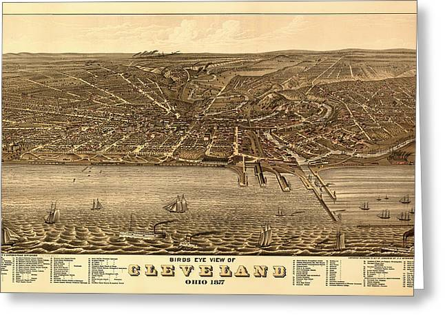 Illustrative Greeting Cards - Antique Birds-Eye View Map of Cleveland 1877 Greeting Card by Mountain Dreams