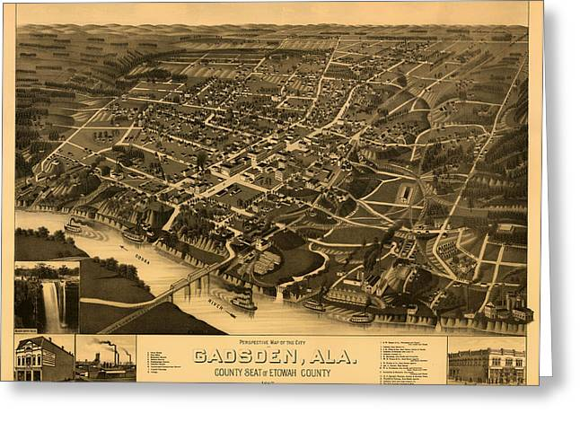 Alabama Drawings Greeting Cards - Antique Birds-Eye View Map of Gadsden Alabama 1887 Greeting Card by Mountain Dreams