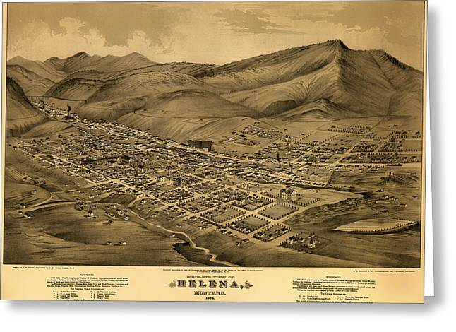 Mountain Road Drawings Greeting Cards - Antique Birds-Eye View Map of Helena Montana 1875 Greeting Card by Mountain Dreams