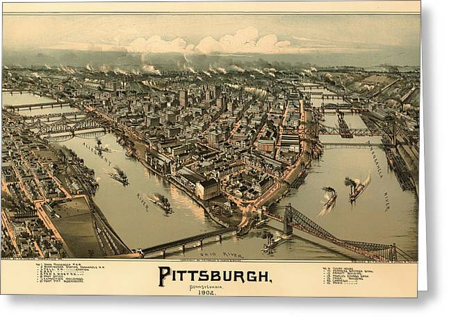Pittsburgh Artwork. Greeting Cards - Antique Birds-Eye View Map of Pittsburgh 1902 Greeting Card by Mountain Dreams