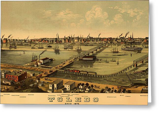 Illustrative Greeting Cards - Antique Birds-Eye View Map of Toledo Ohio 1876 Greeting Card by Mountain Dreams