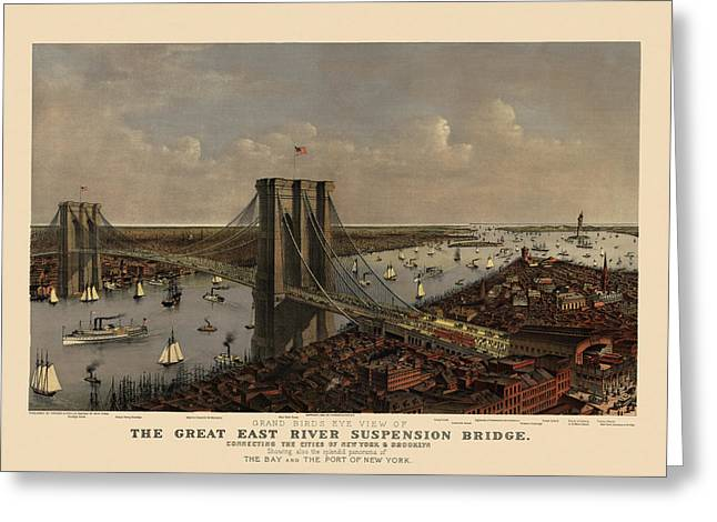 New York City Drawings Greeting Cards - Antique Birds Eye View of the Brooklyn Bridge and New York City by Currier and Ives - 1885 Greeting Card by Blue Monocle
