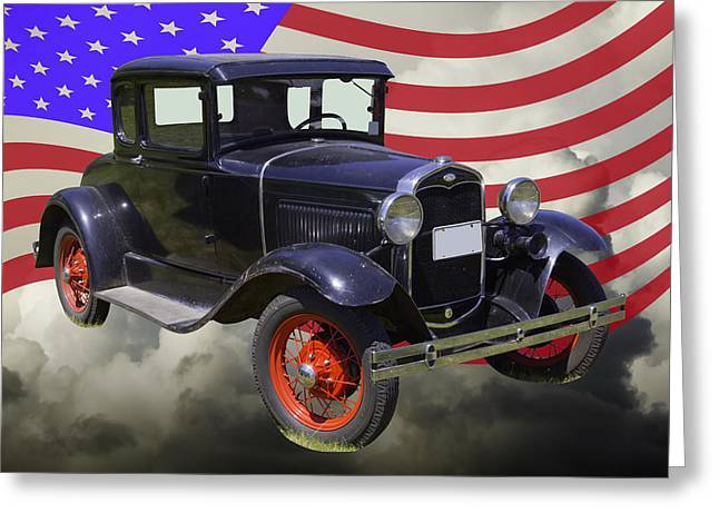 Ford Model A Greeting Cards - Antique Black Ford Model A Roadster With American Flag Greeting Card by Keith Webber Jr
