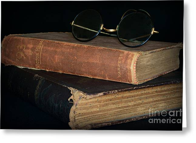 Written French Greeting Cards - Antique Books  Antique Glasses Greeting Card by Paul Ward