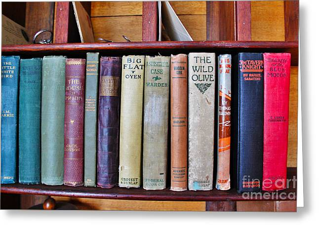 Antique Books On Shelf From 1860 Greeting Card by Janice Rae Pariza