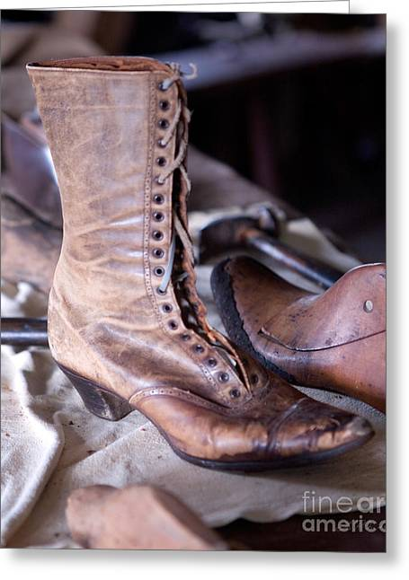 Shoe Repair Greeting Cards - Antique Boot Greeting Card by Iris Richardson