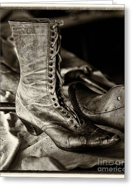 Shoe Repair Greeting Cards - Antique Boot Sepia Greeting Card by Iris Richardson