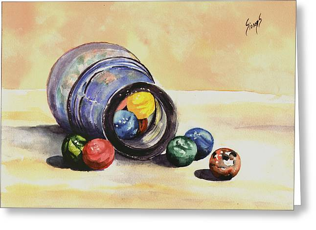 Marbled Greeting Cards - Antique Bottle with Marbles Greeting Card by Sam Sidders