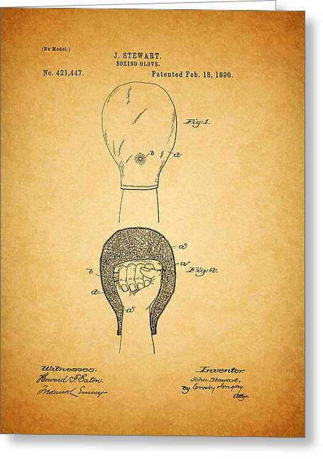 Sports Glove Drawings Greeting Cards - Antique Boxing Glove Patent 1890 Greeting Card by Mountain Dreams