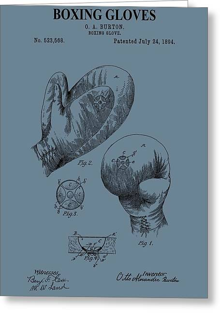 Punching Digital Greeting Cards - Antique Boxing Gloves Patent Greeting Card by Dan Sproul