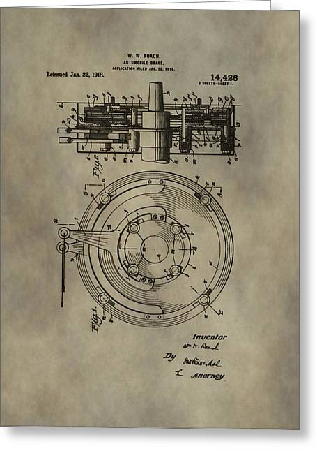 Mechanics Mixed Media Greeting Cards - Antique Brakes Patent Greeting Card by Dan Sproul