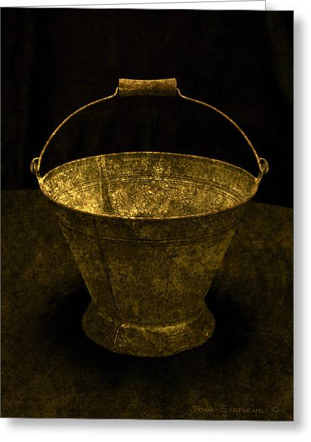 Galvanize Photographs Greeting Cards - Antique Bucket Greeting Card by John Stephens