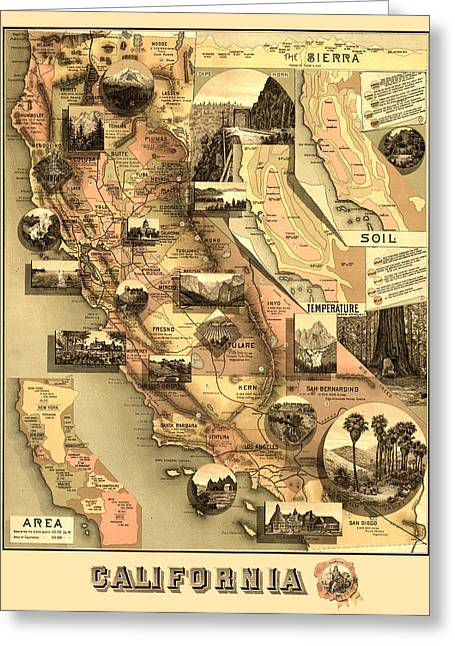 Antique Digital Greeting Cards - Antique California Map Greeting Card by Gary Grayson
