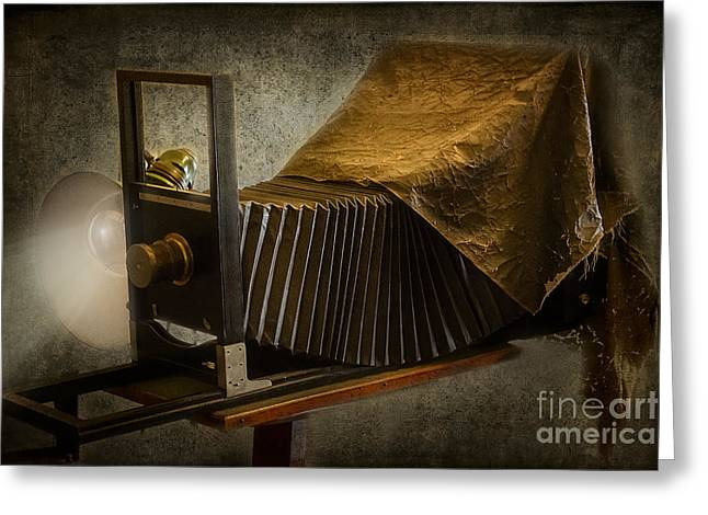 Light Bulbs Greeting Cards - Antique Camera Greeting Card by Susan Candelario