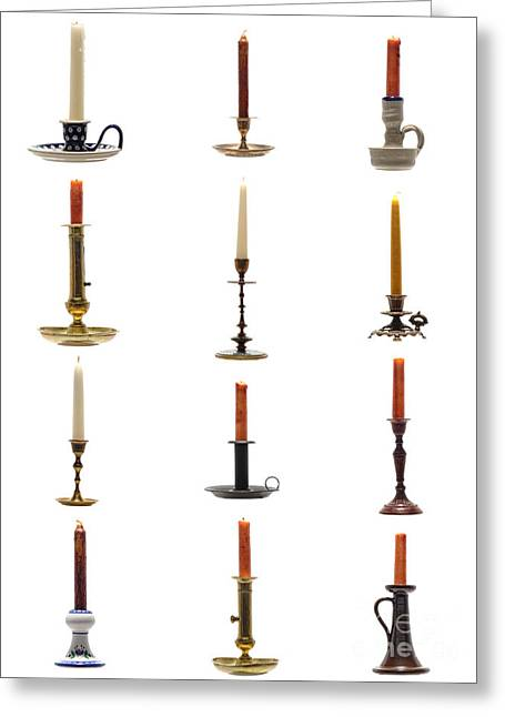 Candlesticks Greeting Cards - Antique Candleholders Greeting Card by Olivier Le Queinec