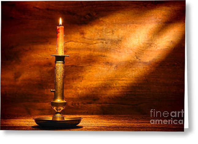 Wax Greeting Cards - Antique Candlestick Greeting Card by Olivier Le Queinec