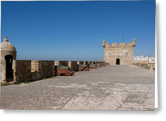 illery Photographs Greeting Cards - Antique Cannon Lined Up On The City Greeting Card by Panoramic Images