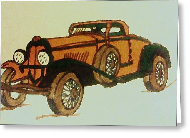 Antique Car Greeting Card by Christy Saunders Church