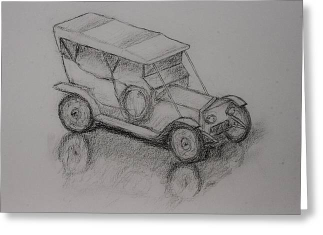 Charcoal Car Greeting Cards - Antique Car Greeting Card by Todd Swart