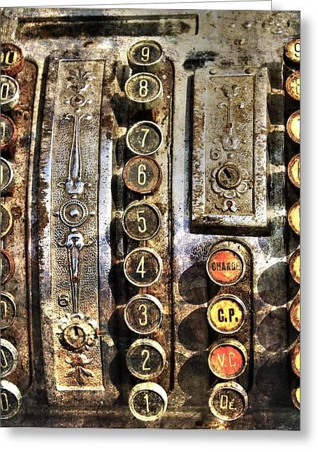 Old Cash Register Keys Greeting Cards - Antique cash register Greeting Card by Guna  Andersone