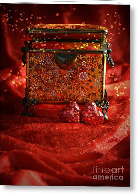 Valentines Day Greeting Cards - Antique Casket Greeting Card by Amanda And Christopher Elwell