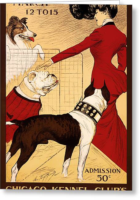 Signed Drawings Greeting Cards - Antique Chicago Dog Show Poster Greeting Card by Mountain Dreams