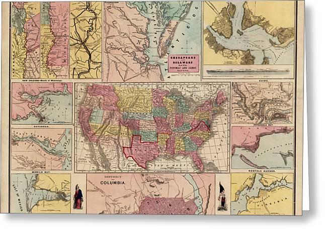 Antique Civil War Map by Egbert L. Viele - circa 1861 Greeting Card by Blue Monocle