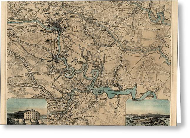 Richmond Greeting Cards - Antique Civil War Map of Richmond and Petersburg Virginia by William C. Hughes - circa 1864 Greeting Card by Blue Monocle