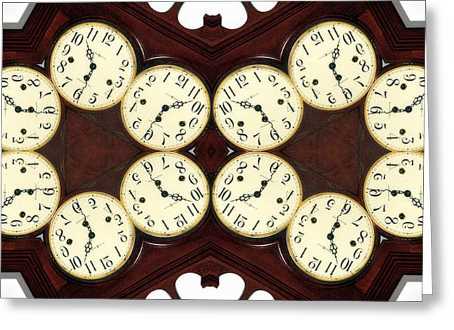 Antique Clock Abstract . horizontal Greeting Card by Renee Trenholm