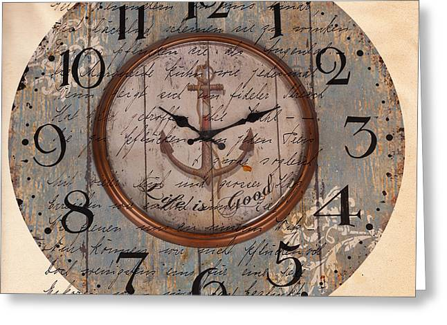 Reflection Harvest Mixed Media Greeting Cards - Antique Clock Anchor Vintage Wallpaper Greeting Card by Art World