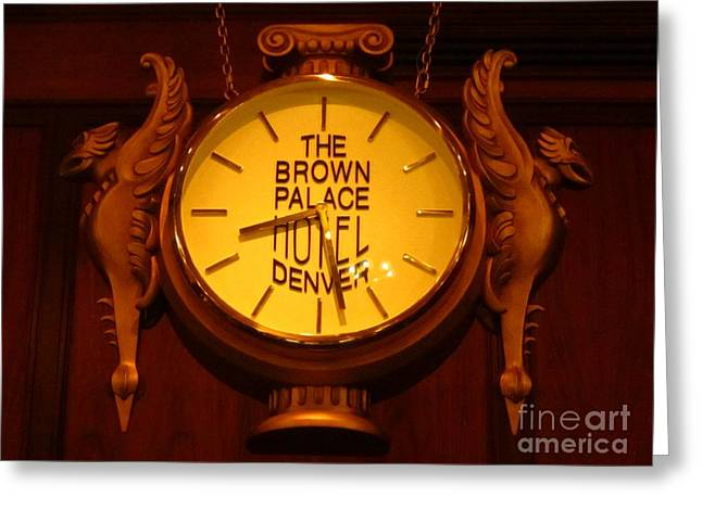 Landmarks Jewelry Greeting Cards - Antique Clock at the Bown Palace Hotel Greeting Card by John Malone