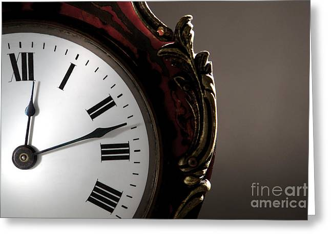 Clock Photographs Greeting Cards - Antique Clock Face Greeting Card by Olivier Le Queinec