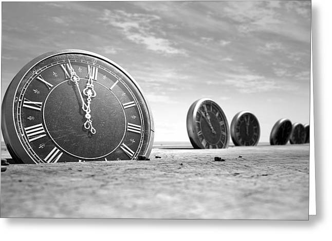 Bizarre Digital Art Greeting Cards - Antique Clocks In The Desert Sand Greeting Card by Allan Swart