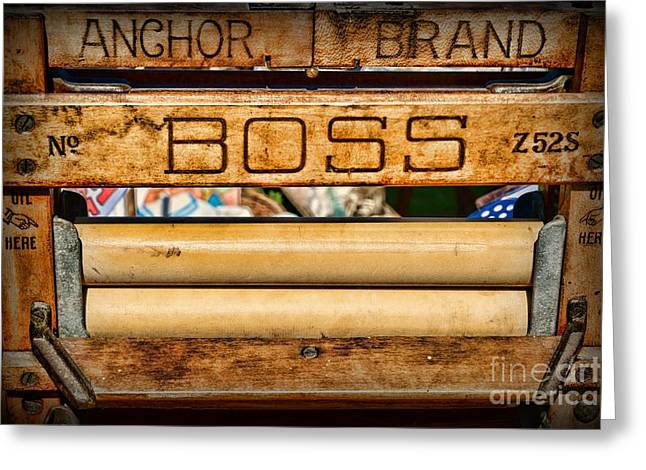 Washtubs Greeting Cards - Antique Clothes Wringer Anchor Brand Greeting Card by Paul Ward