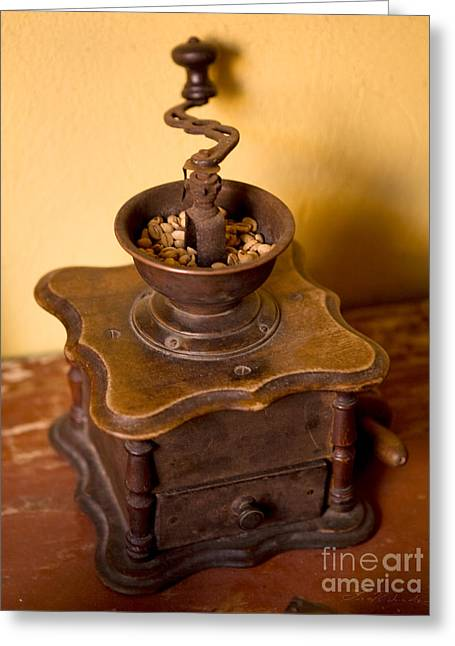 Warm Tones Greeting Cards - Antique Coffee Grinder Greeting Card by Iris Richardson